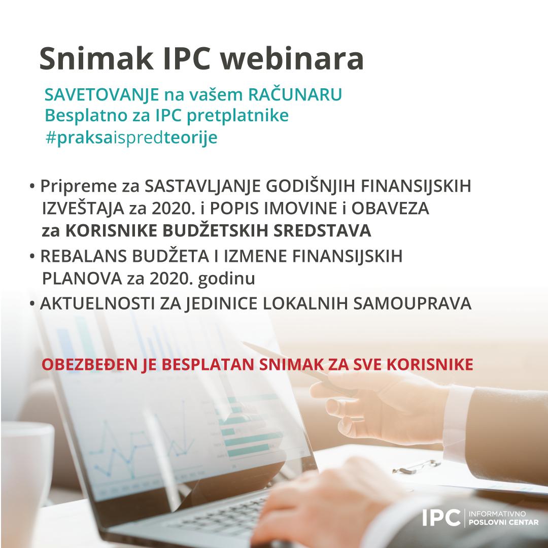 Snimak IPC WEBINARA - 4. novembar 2020.